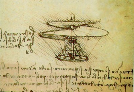 Leonardo da Vinci's drawing of his helicopter screw concept (courtesy of Wikimedia Commons)